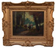 "Oil on canvas of Cows, with the original frame sign by Artist(D.Benyah as best we can make out signature) circa 1870 measurements are: 32"" wide x 27"" tall"