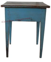 D121 Early 19th century Pennsylvania hepplewhite side table, with the old robin egg blue paint, the top is one board, with double mortised and pin legs, circa 1820