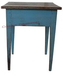 "D121 Early 19th century Pennsylvania hepplewhite side table, with the old robin egg blue paint, the top is one board, with double mortised and pin legs, circa 1820, Measurements are 23"" wide x 21 1/2"" deep x 29"" tall"