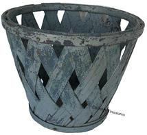 "D456 Early 20th century Vegetaable Basket thick oat splints, in  old gray paint over the original blue  and wooden bottom, the splints are held in place with a stemed and bent wooden band Measurements are  14"" diameter x 11 1/2"" tall"