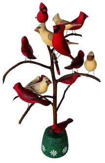 "F494 Pennsylvania signed  Hand Carved by  M.K. Scheel Bird Tree  14 carved and polychrome painted Cardinal birds on bent sassafras branch , mounted in a painted and decorated base. Measurements are: 18"" tall"
