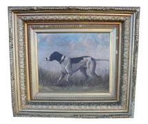 "n Point"" Bird Dog painting oil on canvas  dates to the late 19th century ;Pointer dog run towards  some prey. There is no signature. The artist captured the motion very competently. As the painting is over 100 years old from a Shelbyville Kentucky estate  Measurements are  15 1/4 x 13 1/2"