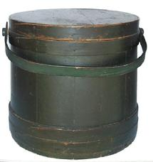 "Z170 Large  New England green Covered Wooden Firkin, tongue and groove softwood staved sides, tapered lap joint wood bands, bent wood handle with wood peg attachments, 14"" high . 14 "" diameter and bottom  14 3/4"""