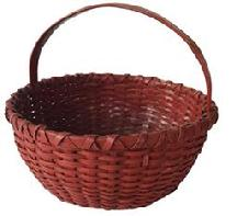 D353 Early Virginia small gathering Basket, with beautiful old red paint, double wrapped rim, with a steam and bent handle, kicked in bottom
