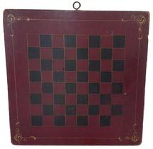 "A24 19th century painted checkerboard,painted on one board  retaining its original red and black checker design old dry  surface with yellow pin striping, in each corner and a single strip around all four sides and high lighting each checker box  18"" x 18""."