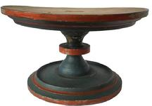 "RM767 19th century wooden Compote with original blue paint with orange decoration the top and bottom  are mortised , very gracefully turn pedestle  5 1/4"" tall  x 9 "" diameter"