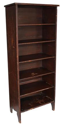 "B346 19th century Storage Cupboard, with the original old surface, nice high cut out design on sizes, six shelves that are 9"" tall solid end boards circa 1880 Measurements are: 26 1/2"" wide x 15"" deep x 64 3/4"" tall"