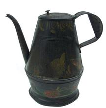 W359 Late 18th century painted and decorated Toleware Coffee Pot A tapering cylindrical body with  hinged lid, strap handle and curved spout and black-painted body embellished with floral decoration circa 1820