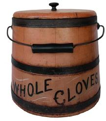 "B446  19th century Bucket with the original salmon paint, with the words Whole Cloves in black paint with mustard decoration  Stave construction, with metal bands and bale  swing handle.   13 1/2"" tall"