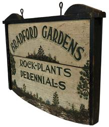 "F69 Early 20th century wooden trade sign, advertising Bradford Gardens, Rock, Plants and Perennials. Measurements: 27 1/4"" long x 20"" tall"