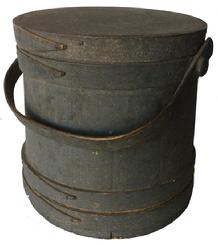 V330  Gray  original painted wooden Firkin,The Firkin sides and top are surrounded by a simple overlapping bentwood bands, secured by small copper tacks