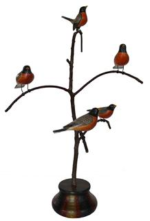 C577 Ken Kirby (American, 20th Century) Folk Art Bird Tree, with five beautiful polychromed painted and hand  carved wood Birds resting on a steamed and bent branch resting on a colorful base , 26 inches (height), inscribed, signed and dated