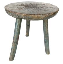 "F531 Early 19th century Pennslyvania Milking Stool in the original robin egg blue paint, three legs mortis through a sold round thick top, showing great wear, Measurements are 12"" tall x 11"" diameter"
