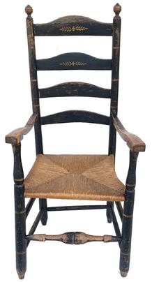 G1 Late 18th Century  Delaware  ladder back arm side chair. These chairs were first discovered along the Delaware River in Pennsylvania, New Jersey, Delaware and Maryland.   It includes decorated black paint, bulbous turnings on the front stretchers, concave and reverse graduated slats, arms mortised through the seat and decorative finials.