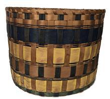 "E558 Native American Indian Penobscot band basket, ca. 1860 This form of basket is referred to as a ""band"" basket from the brightly colored splints used in the piece."