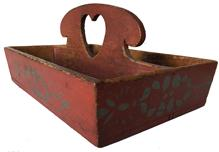D546 19th century Pennsylvania paint decorated heart Cutlery Box with a high arch handle with a over size heart cut out. vibrant bittersweet paint with grey blue decoration, the knife box feathers dovetailed case