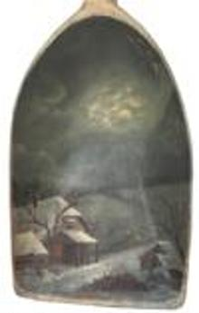 D388 19th Century  Painted wooden  Shovel.This antique wooden  shovel is decorated with a Winter night sceen  hand painted  scene on the scoop.Made form one, single piece of wood,