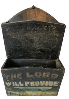 "E218 19th century Southern double Wall Box with the original black painted, nailed construction, with original wrought-iron hanger, two-tier form with canted fronts. With later painted flower on one tier and ""THE LORD WILL PROVIDE"" with a sun rising above the mountains on the second tier"
