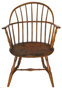 C56 Late 18th century New England Windsor arm Chair, cleaned down to the original bittersweet paint  signed on the botto S.C.