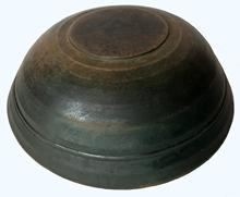 E490 18th century Treen Bowl, Mixing and Utility, Beehive form New England Overall thinning windsor green color from 200-years of use. measurements 12� diameter 4� tall