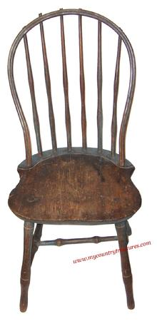 PA Bow Back Windsor Side Chair with six spindle back, shaped seat and bulbous turned legs.