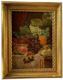 F476 Late 19th century oil on canvas still life of fruit painting.signed by Artist W. Tudor The painting is in excellent vintage condition. Artist signature lower right corner. In it's original giltwood frame.