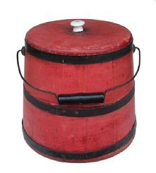 Y16 19th century Sugar Bucket with bittersweet paint ,American, . with stave construction, metal bands and bale handle bittersweet red paint