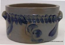 S626 One gallon Pennsylvania  decorated Cake Crock, applied handles,  there a few chips in the glaze