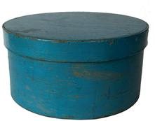 "F155 Original Blue Painted round wooden Pantry Box in excellent old robin egg blue paint, ca. 1880. Bentwood box with tack bands, old robin egg blue over the original exterior with natural patina on the inside. Measurements: 10"" diameter x 5 1/2"" tall"