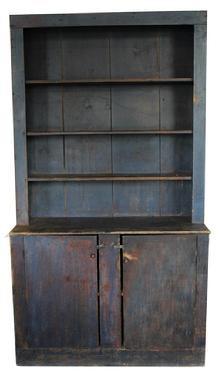 D70 Early 19th Century New England open top Stepback Cupboard with old blue paint, from Livermore Maine.Displays generations of use and desirable wear;