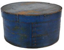 "C554 19th century   Fantastic original blue painted Pantry Box  from New England.Great form and surface.The condition is very good 10"" diameter x 5 1/4"""