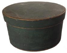 A188 New England 19th Century Pantry Box, with original dry green paint, with over lapping bentwood sides, secured with small metal tacks.
