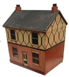 A95 Early 20th century Doll House, found in North Carolina, it has glass windows, with a front door that opens and closes, it has a closet with working door, two large door on the back to open it up so it can be decorated. It was wired for lights at one time and can be again. It has board floors.there are rollers on the bottom so the Child could move it around the room. This little House has seen many year of love and use.