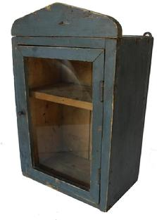 C135 Late 19th century Hanging glass door cupboard , in the original blue paint, the wood is pine, circa 1880 all original