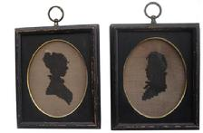 "V356 19th century two small framed silhouettes that are needlepoint, This framed needlework is done in black thread on linen The square wooden frames are painted black and have a gold metal band on the inside rim. 5 1/2"" x 6 1/2"""