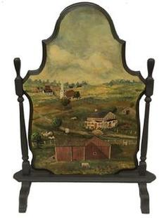 E320 19th century Fireplace Screen, with a early 20th century hand painted farm scene . Oil paint on board, of a Farm with farm Animals and house and Cows , barn, beautiful art work signed by Artist