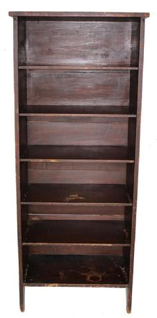 "B346 19th century Storage Cupboard, with the original old surface, nice high cut out design on sizes, six shelves that are 9"" tall solid end boards circa 1880"