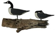 B461 Hand carved wooden Geese, one in sleeping position, all original maker unknown mounted on driftwood