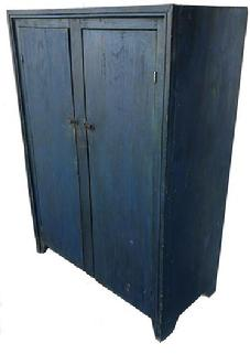 **SOLD** E562 Early 19th century two door storage Cupboard, original indigo blue paint, two plank doors, with picture frame molding applied to front of case
