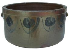 "X245  Cobalt-Decorated Stoneware Cake Crock, Baltimore, MD origin, circa 1860,  cylindrical crock with semi-squared rim, tooled shoulder, and applied tab handles, decorated with brushed cobalt flowers all around the crock. H 6 1/2"" ; Diameter 12"""