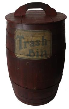 C374 Late 19th century  painted Barrel  Stave-constructed barrel with metal bands and a removable lid . red paint, hand painted on the front of the barrel �Trash Bin�  hand painted, it is clean on the inside, very well made, tight and sturdy