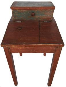 SOLD D285 19th century Eastern Shore, Maryland Country pay master's Desk, with the original red and blue paint. circa 1860 Very unusual attached , tilting storage Box on top