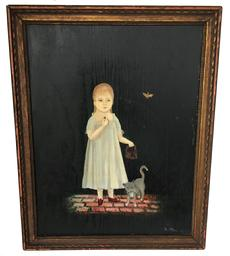 "D368 Late 19th century painting on board of a  small Girl eating berries with her Cat, butterfly in the background  sign by Artist "" A. Stannel""? New York framing lable on back  12"" wide x 15"" tall"