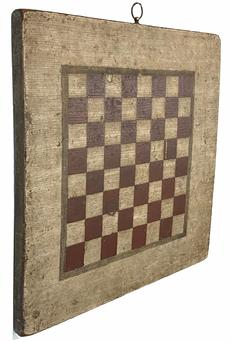 G70 Outstanding 19th century original painted checkers game board shows an outstanding original painted wood surface and is constructed from a single wide pine plank. The playing field is painted in dark red against a white background with a gray pin strip boarder