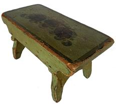"Antique Pennsylvania painted wooden Miniature Stool in original apple green paint with floral decoration on top. Nailed construction with tapered legs and shaped cut-outs. Circa 1820 � 1840. Measurements: 4 1/2""h. x 8 1/2""w. x 4 1/4""d."
