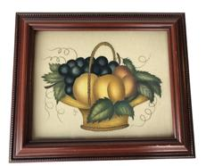 M740a  Theorem painting  The artwork is bright and in the classic style of a basket with fruits. It is in very nice condition.  Professional framed