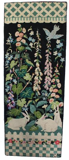 D93 Early 20th Century Americana   Folk Art Hooked Rug,  , Beautiful hand made hooked rug with three Bunnies in a flower garden , with blue bird ,The rug has been professionally cleaned and mounted on frame.