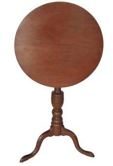 "E108 18th century New England tilt top  Candle Stand, in  original red painted surface . It is from New England, circa 1790-1800. The round top is affixed to an attractive baluster turned column , supported by three wide cabriole legs, ending in a snake foot Dimensions: 19 3/4"" diameter top 29 1/4"" height. top up 39 3/4�"
