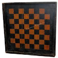 "C394  19th century Virginia Game Board, with  black and salmon paint, with applied molding, the wood is white pine and walnut, with bread board ends to pkeep it from wrapping circa 1880  Measurements are: 14 1/2 x 14 1/2"" x 1 1/2"" deep"