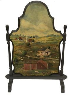 "E320 19th century Fireplace Screen, with a early 20th century hand painted farm scene  . Oil paint on board, of a Farm with farm Animals and house and Cows , barn, beautiful art work signed by Artist Measurements are 40"" tall x 26"" wide"